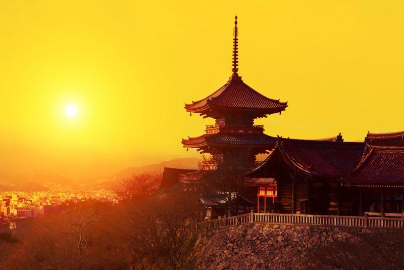 Magical sunset over Kiyomizu-dera Temple, Kyoto, Japan